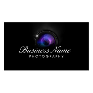 Studio noir de photographie d'objectif de caméra cartes de visite personnelles