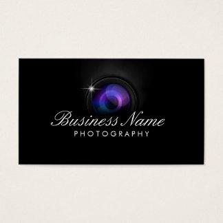 Studio noir de photographie d'objectif de caméra cartes de visite
