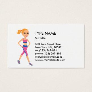 Style 1 de bande dessinée de fille de forme cartes de visite