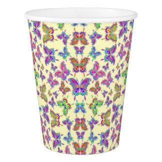 Style coloré de tatouage de papillon gobelets en papier
