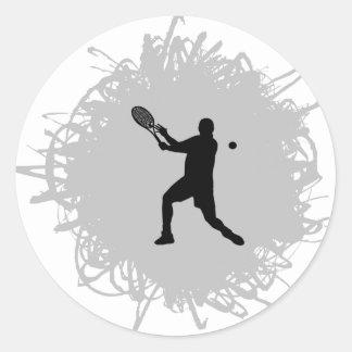 Style de griffonnage de tennis (mâle) sticker rond
