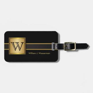 Style exécutif de monogramme masculin - noir et or étiquettes bagages