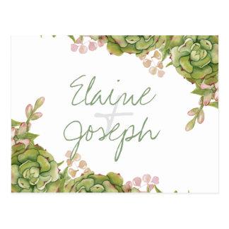 Succulents en carte postale rustique de rsvp de