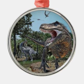 Suchomimus et confrontation de Rex de Ornement Rond Argenté