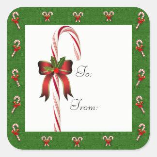 Sucre de canne de Noël To/From l'autocollant de Sticker Carré