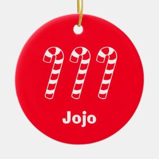 Sucres de canne votre nom ici (Jojo) Ornement Rond En Céramique