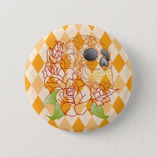 Sucrez le rétro insigne à motifs de losanges jaune badge rond 5 cm