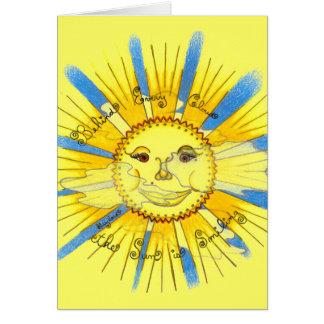 Sun en nuages - cartes de voeux (jaune)
