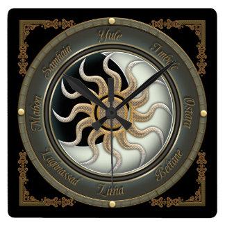 Sun et horloge murale païenne de roue de lune