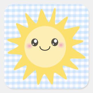 Sun heureux mignon autocollant carré