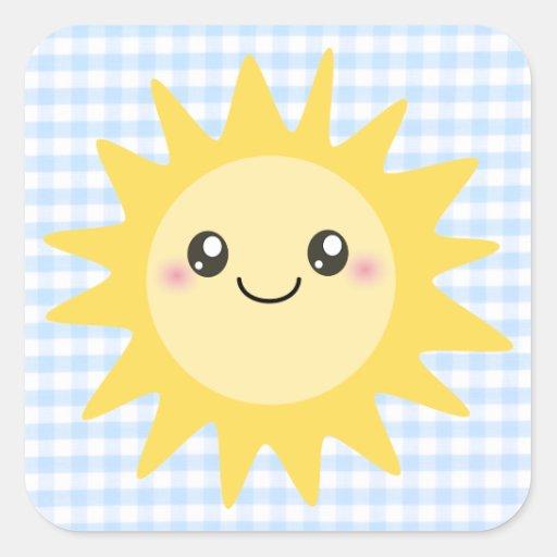 Sun heureux mignon autocollant