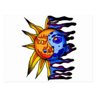Sun/lune Yin Yang Carte Postale