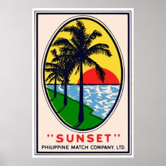 Sunset Philippine Match Company, étiquette de Ltd Poster