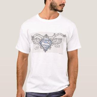 Superman a stylisé le logo bleu d'ailes d'ensemble t-shirt