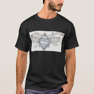 Superman a stylisé le logo bleu d'ailes d'ensemble t-shirt