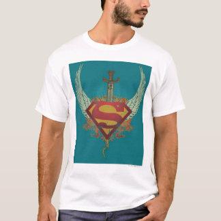 Superman a stylisé le logo turquoise d'arrière - t-shirt
