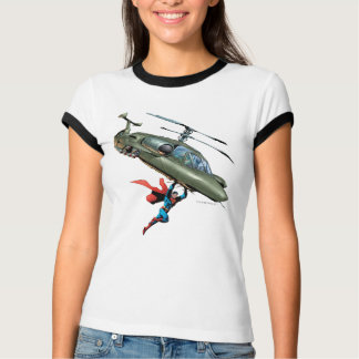 Superman tient l'hélicoptère t-shirt