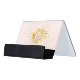 Support Carte De Visite Feuille d'or rose ID445 de monogramme de confettis