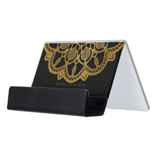 Support Carte De Visite Mandala élégant ID353 d'or