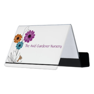 Support Carte De Visite Pépinière de jardin avec les fleurs et la souris