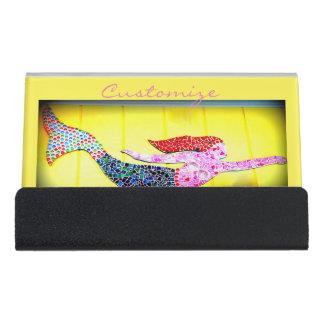 Support Carte De Visite sirène rose de mosaïque de natation