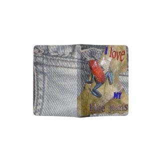 Support de passeport de grenouille de blues-jean protège-passeports