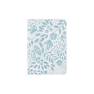 Support floral bleu de passeport de belle protège-passeports