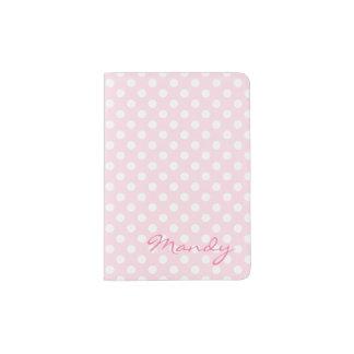 Support rose de passeport de point de polka protège-passeport