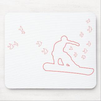 surf des neiges. conseil avec des oiseaux. contour tapis de souris