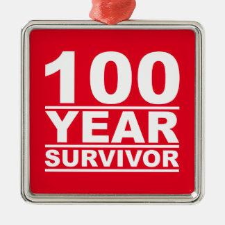 survivant de 100 ans ornement carré argenté