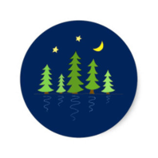 Midnight Forest with Trees Stars and Moon