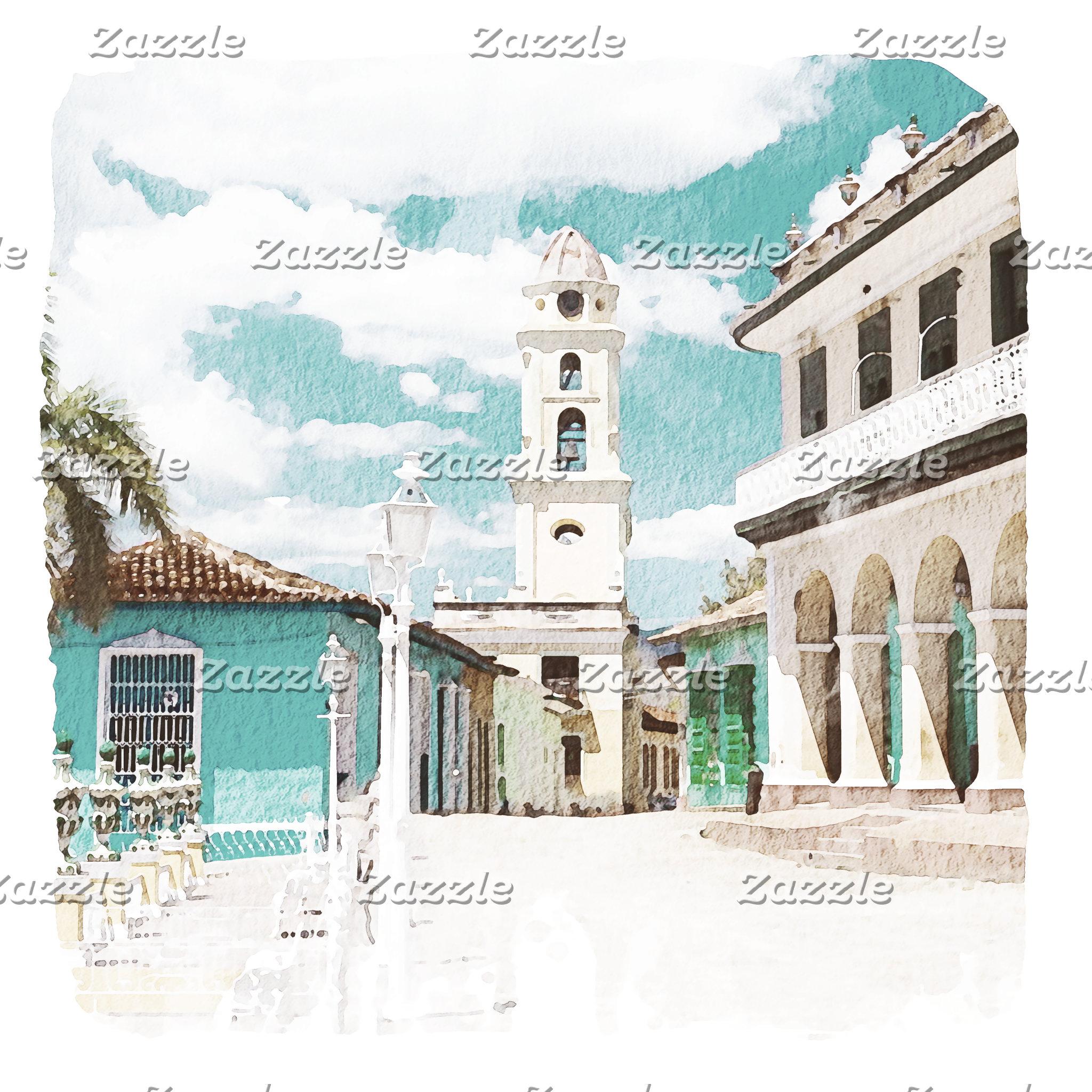 Trinidad Cuba Plaza Mayor Watercolor