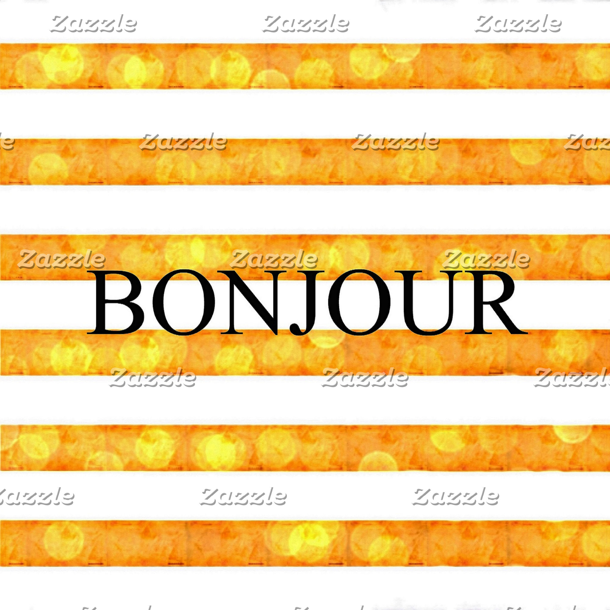 Bonjour Orange Stripe Bokeh