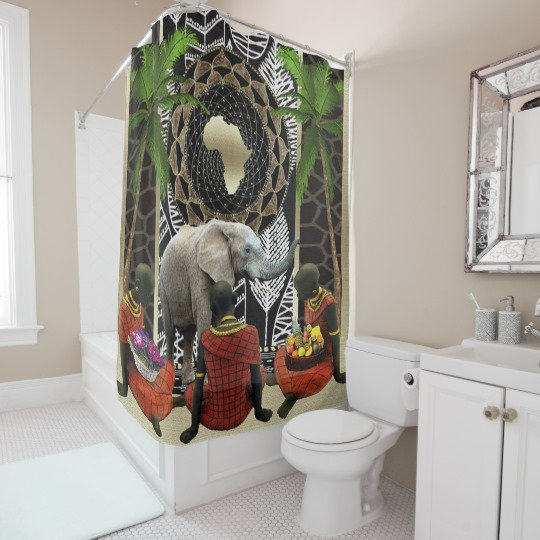 African Pattern and Print Shower Curtains