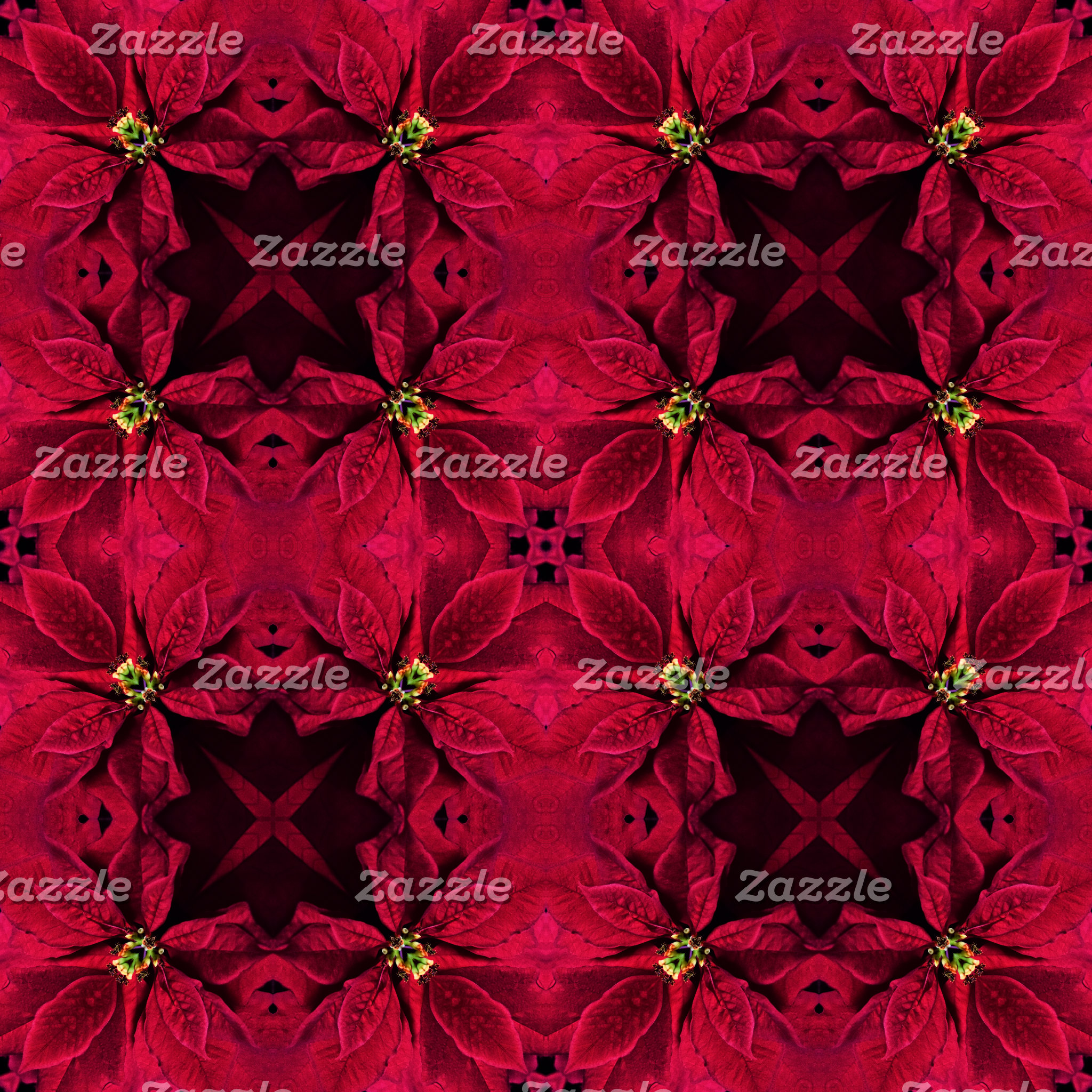 Red Poinsettias Abstract 3