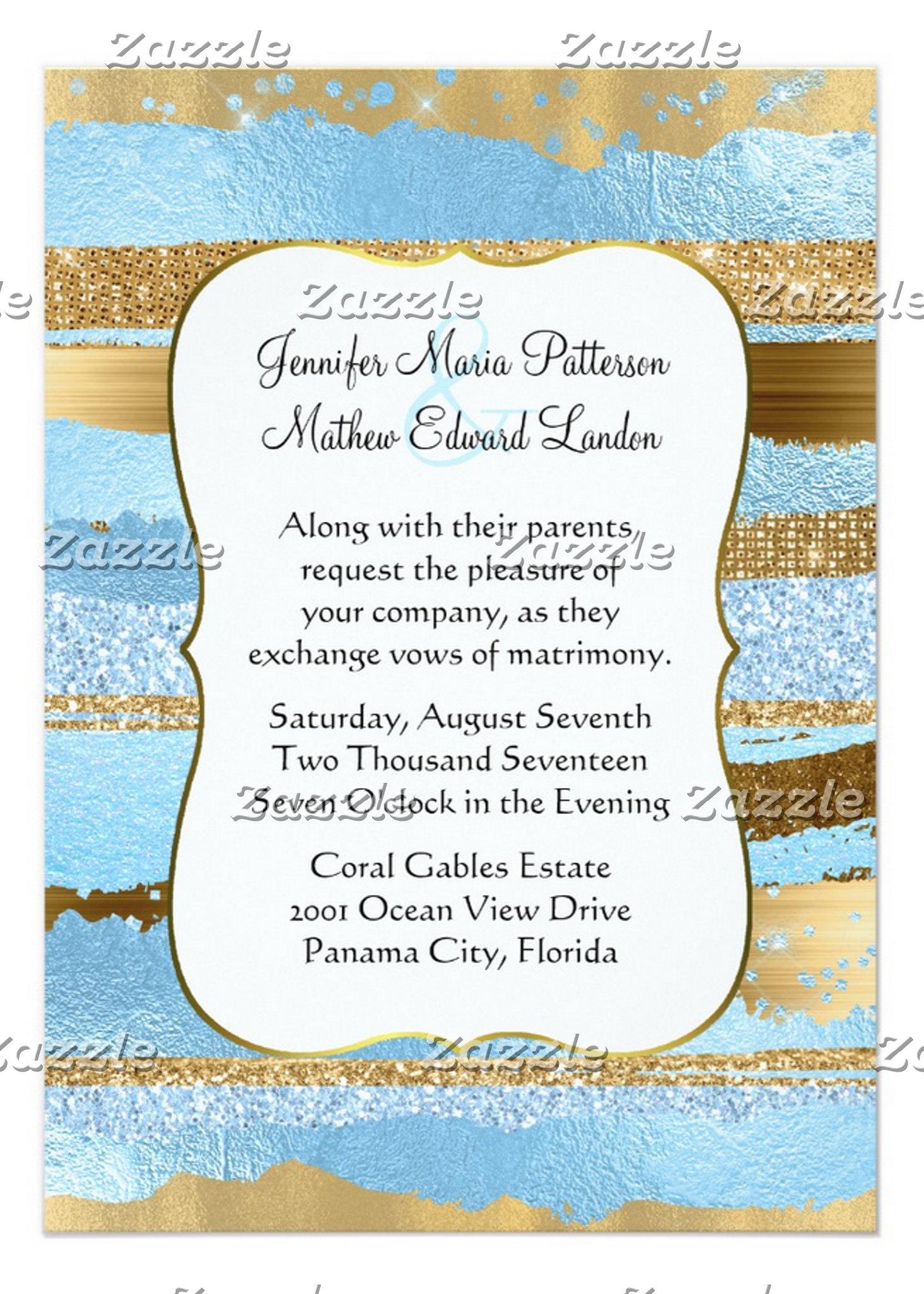 Blue and Gold Glam Wedding Set