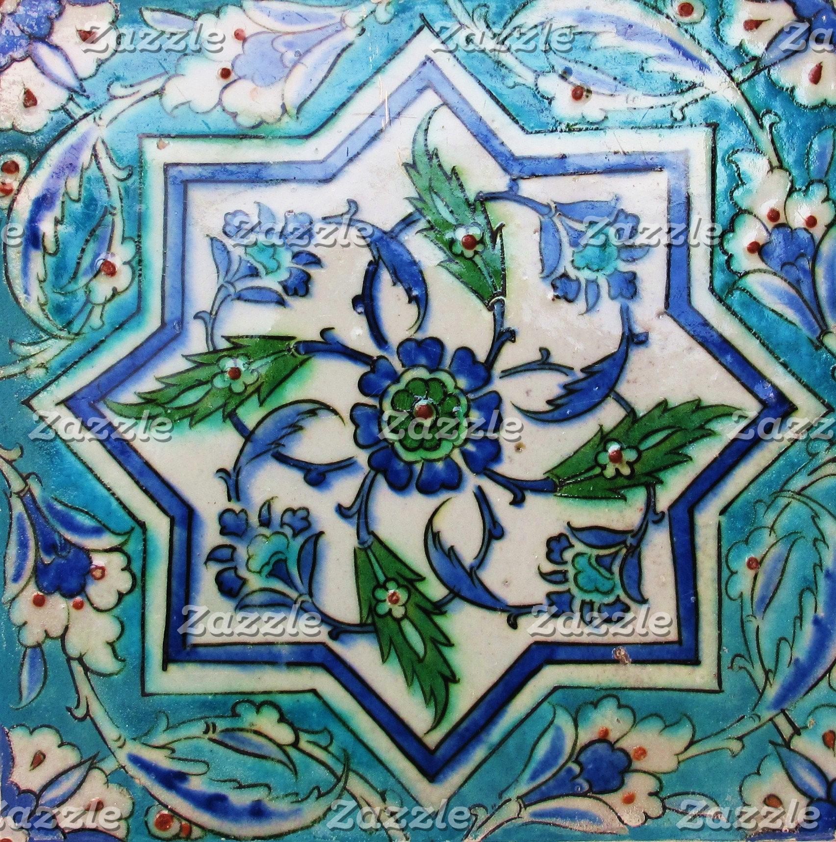 Blue and White Star Isnik Ceramic Tile