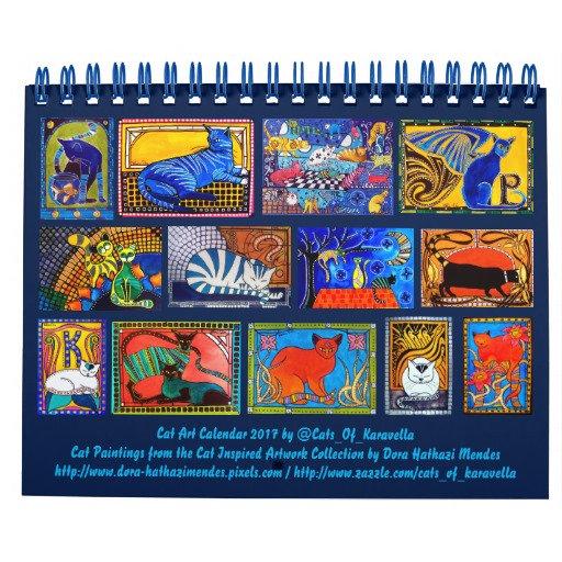 Cat Art Calendars for 2018