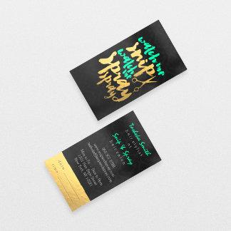 Chic faux gold foil hair salon damask custom color