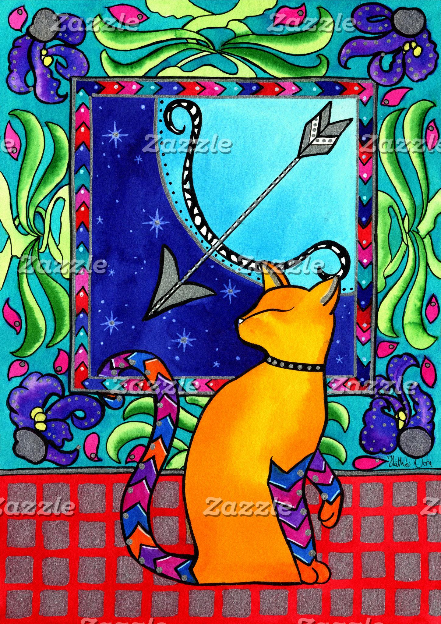 Cat Art - Sagittarius Cat Zodiac