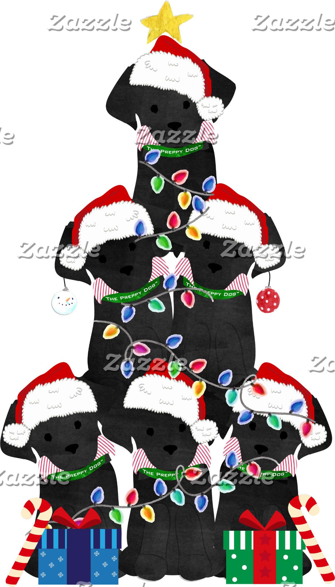 Holiday Preppy Black Lab Xmas Tree