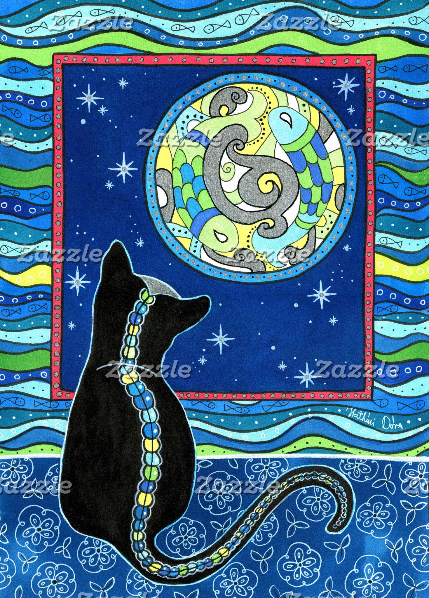 Cat Art - Full Moon