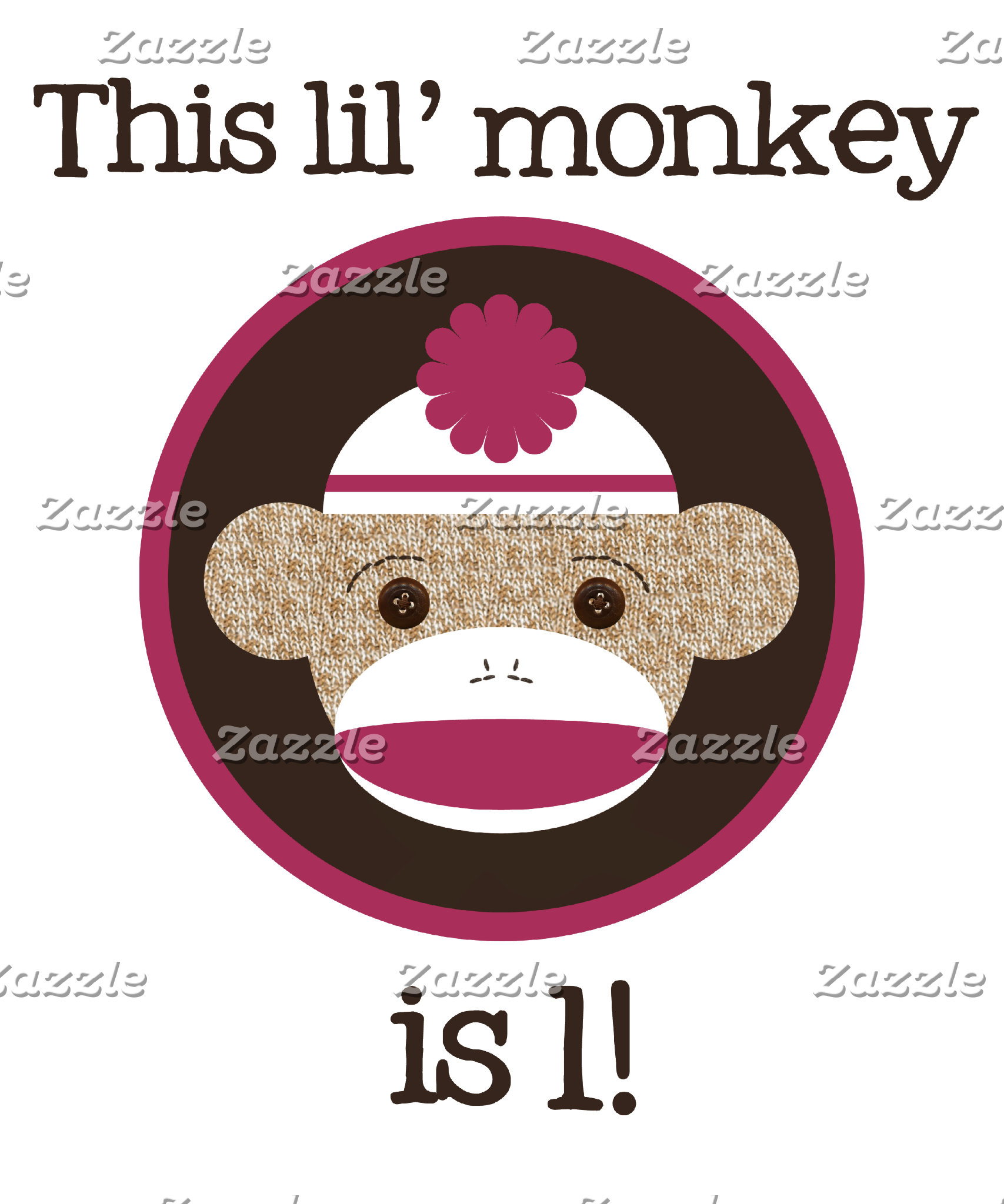 Pink & Brown Sock Monkey Birthday Shirts