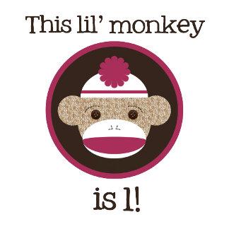 Pink & Brown Sock Monkey Birthday Shirts