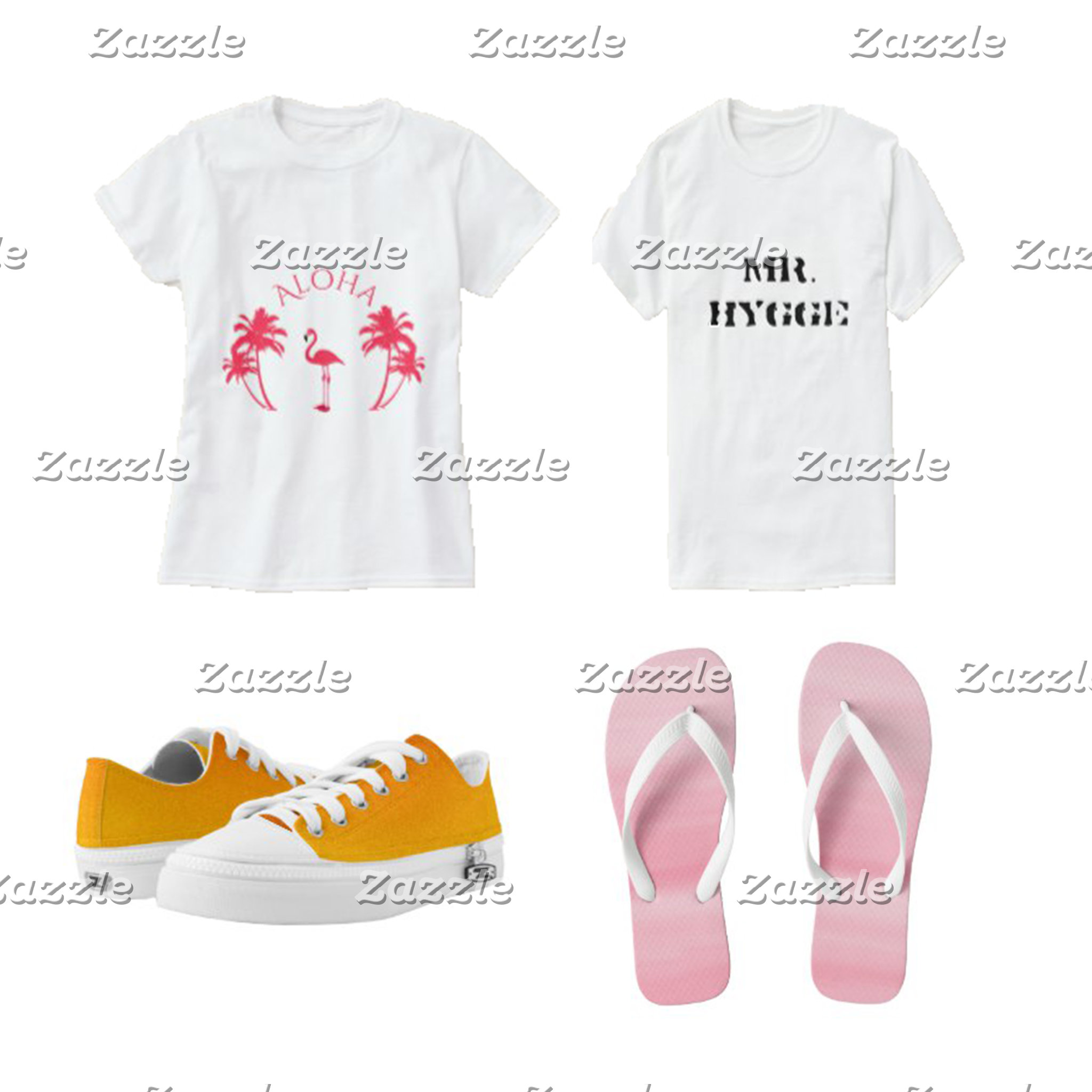 T-shirts, scarves, shoes