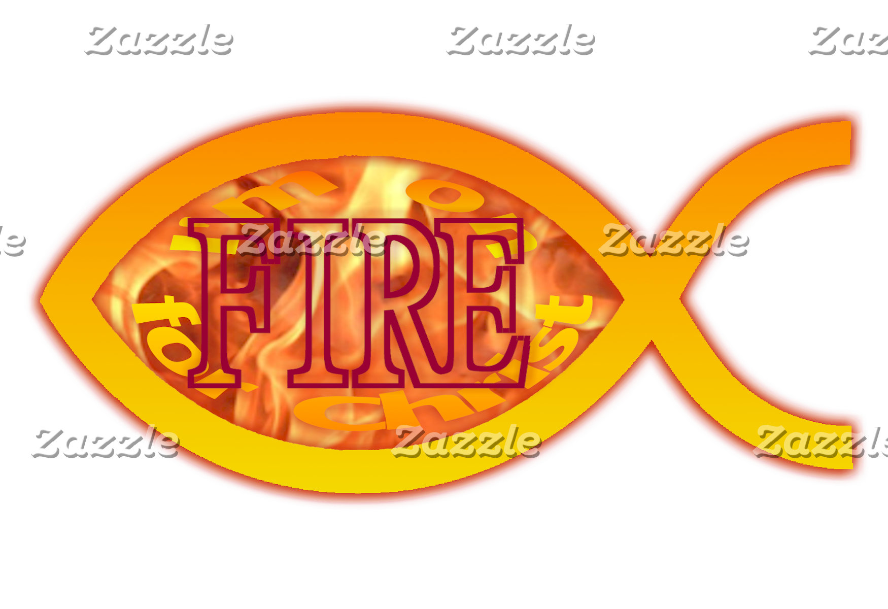 I'm on FIRE for Christ - Christian Fish Symbol