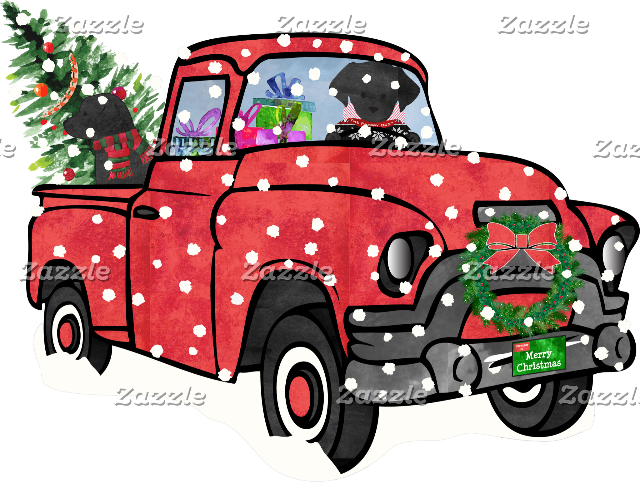Red Truck Christmas Black Labs
