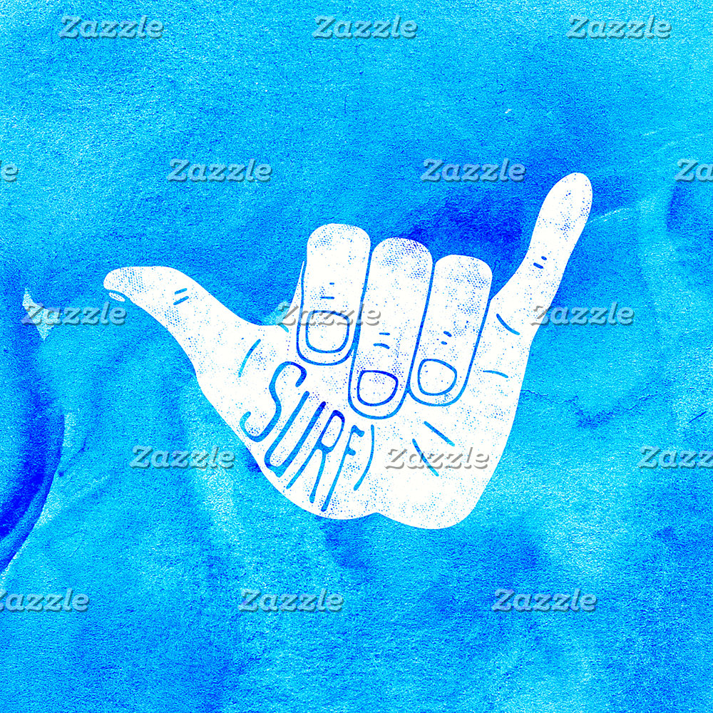 Surf Hang Loose Hawaiian Ocean Blue Hip Watercolor