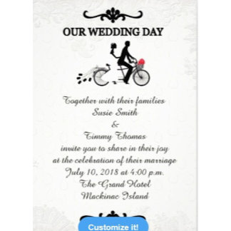 Bride and Groom on Tandem Bicycle