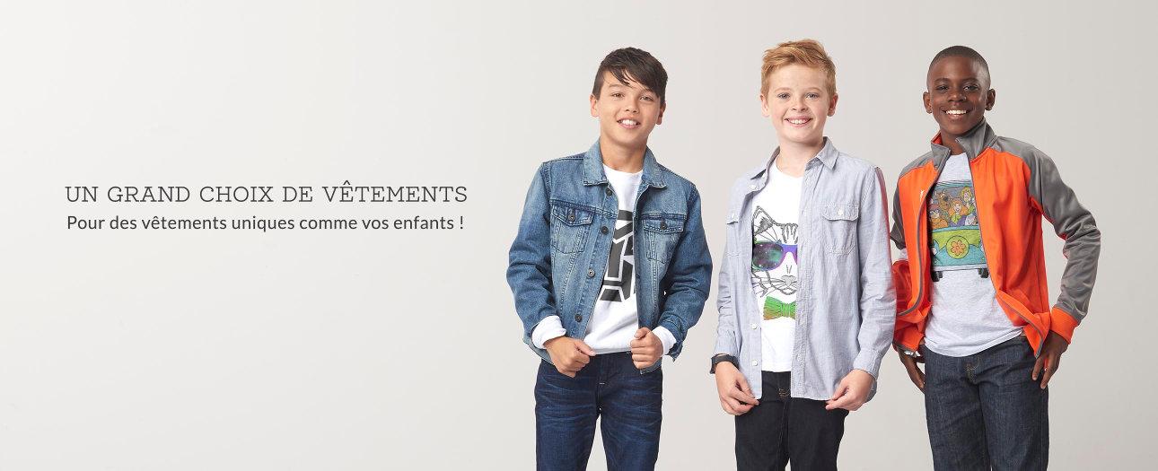 Grand choix vêtements personnalisables pour enfants